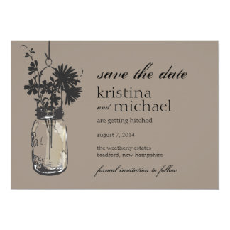 Vintage Mason Jar & Wild Flowers Save the Date Card