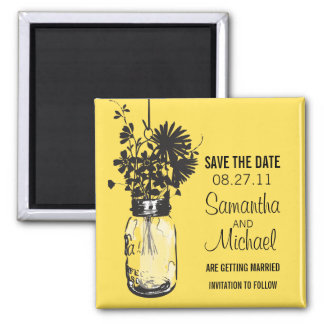 Vintage Mason Jar & Wild Flowers Save the Date Square Magnet