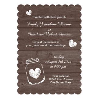 Vintage mason jar wood grain wedding invitations