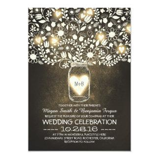 vintage mason jar yellow flowers wedding invites