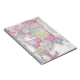Vintage Massachusetts and Rhode Island Map (1855) Notebook