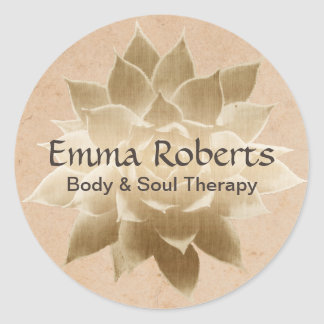 Vintage Massage Therapy Elegant Gold Lotus Classic Round Sticker