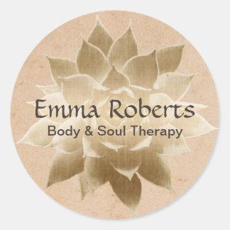 Vintage Massage Therapy Elegant Gold Lotus Round Sticker