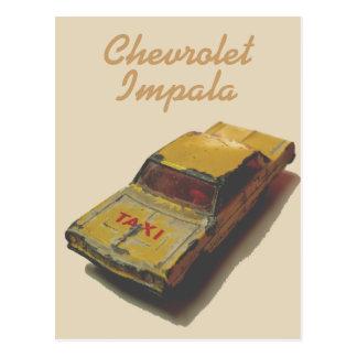 Vintage MatchBox Yellow Cab Postcard