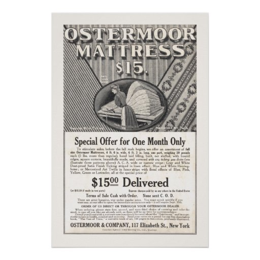 Vintage Mattress Ad from 1906 Poster