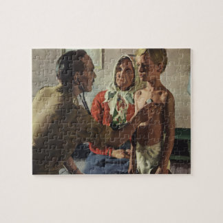 Vintage Medicine, Doctor with Boy and Mother Jigsaw Puzzle