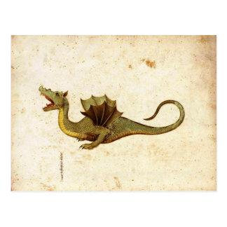 Vintage Medieval Dragon Design Postcard