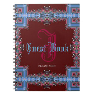Vintage Medieval Red Blue Lacy Monogram Guest Book Spiral Notebooks