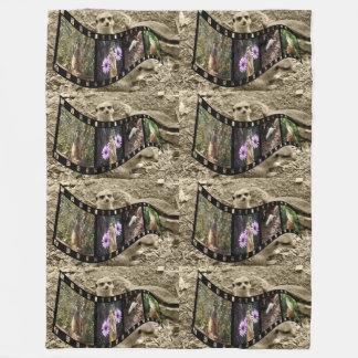 Vintage Meerkat Photo Strip, Large Fleece Blanket