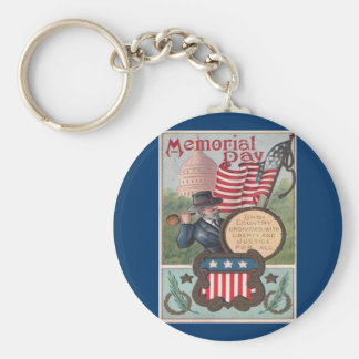 Vintage Memorial Day - One Country Basic Round Button Key Ring