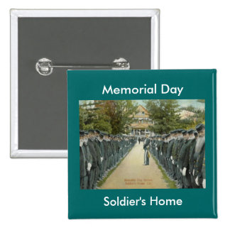 Vintage Memorial Day Review Soldiers Home 15 Cm Square Badge