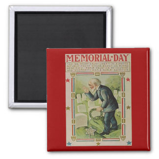 Vintage Memorial Day The Fallen Square Magnet