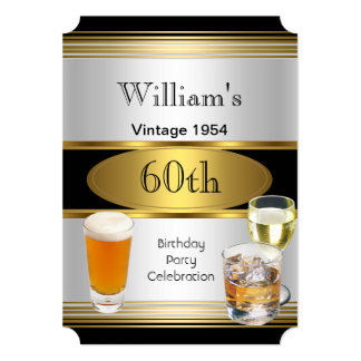 Vintage Mens 60th Birthday Party Gold Silver Beer 13 Cm X 18 Cm Invitation Card