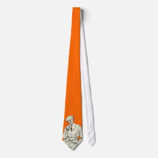 Vintage Men's Fashion Orange Pipe Smoke Clothing Tie