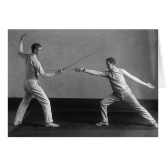 Vintage Men's Foil Fencing Note Card
