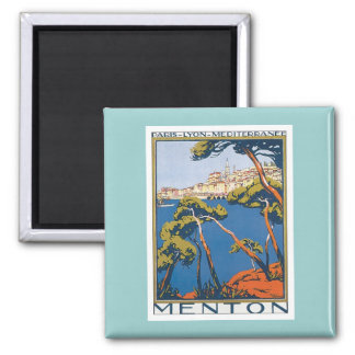 Vintage Menton France Square Magnet