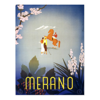 Vintage Merano Italy Horse and Golfers Travel Postcard