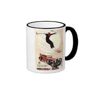 Vintage Mercedes Benz Ski Ad Ringer Mug