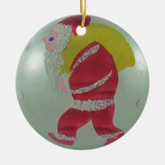 Vintage Mercury Glass Christmas Ball Santa Ceramic Ornament