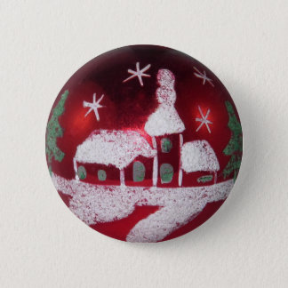 Vintage Mercury Glass Red Christmas Snow House 6 Cm Round Badge