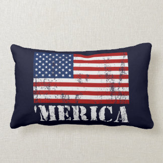 Vintage 'MERICA U.S. Flag Lumbar Throw Pillow