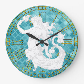 Vintage Mermaid Aqua Sea Glass Large Clock