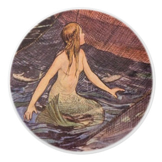 Vintage Mermaid catch of the day Ceramic Knob