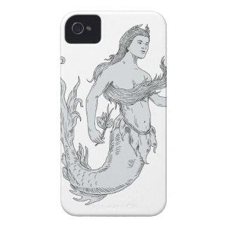 Vintage Mermaid Holding Flower Drawing Case-Mate iPhone 4 Case