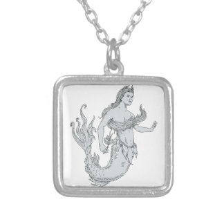 Vintage Mermaid Holding Flower Drawing Silver Plated Necklace