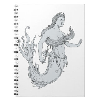 Vintage Mermaid Holding Flower Drawing Spiral Notebook