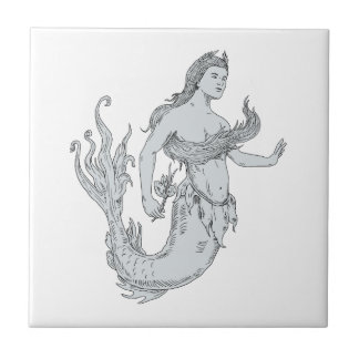 Vintage Mermaid Holding Flower Drawing Tile