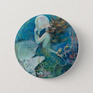 Vintage Mermaid Holding Pearl 6 Cm Round Badge