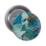 Vintage Mermaid Holding Pearl 6 Cm Round Badge