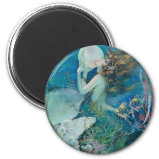 Vintage Mermaid Holding Pearl 6 Cm Round Magnet
