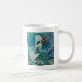 Vintage Mermaid Holding Pearl Basic White Mug