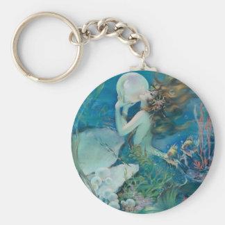 Vintage Mermaid Holding Pearl Key Ring