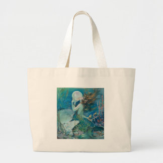 Vintage Mermaid Holding Pearl Large Tote Bag