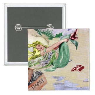 Vintage Mermaid in Color Button