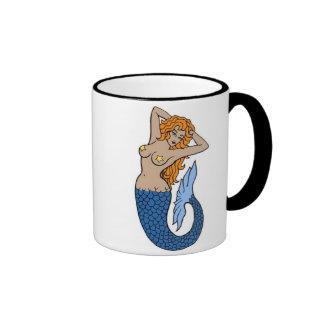 Vintage Mermaid Tattoo Art Ringer Mug