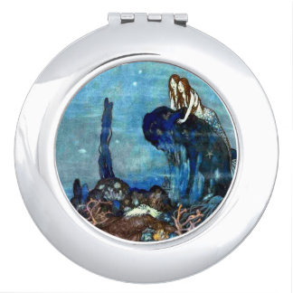 Vintage Mermaid Two compact mirror