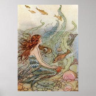 Vintage Mermaid Under The Sea Art Nouveau Poster
