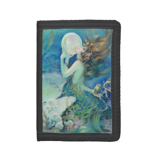 Vintage Mermaid w Pearl Nautical Ocean Nautical Trifold Wallet