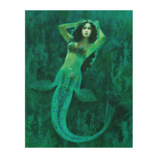 Vintage Mermaid Wood Wall Art Wood Prints