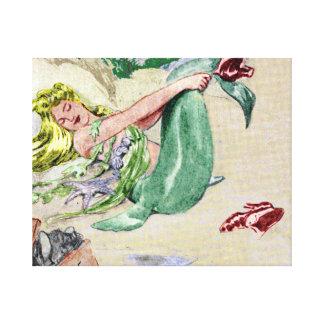 Vintage Mermaid Wrapped Canvas Wall Art Canvas Prints