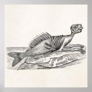 Vintage Merman Mermaid Sea Creature Monster Retro Poster