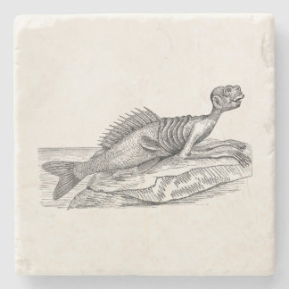 Vintage Merman Mermaid Sea Creature Monster Retro Stone Coaster