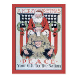 vintage Merry Christmas and peace Postcard