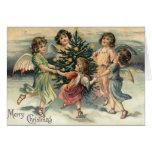 Vintage Merry Christmas Angel Children Greeting Card
