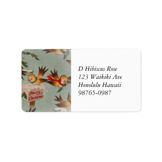 Vintage Merry Christmas Birds Address Label