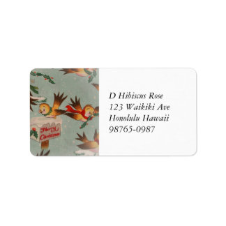 Vintage Merry Christmas Birds Label